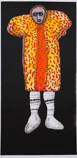 Colbert Mashile | The Groom II | 2014 | Mixed Media on Paper | 185 x 90.5 cm