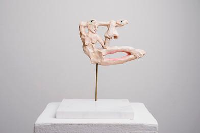 Marlene Steyn   Her In Her Voices (The Handwarmer)   2017   Oil Paint on Ceramic, Brass, Marble   18 x 14 cm