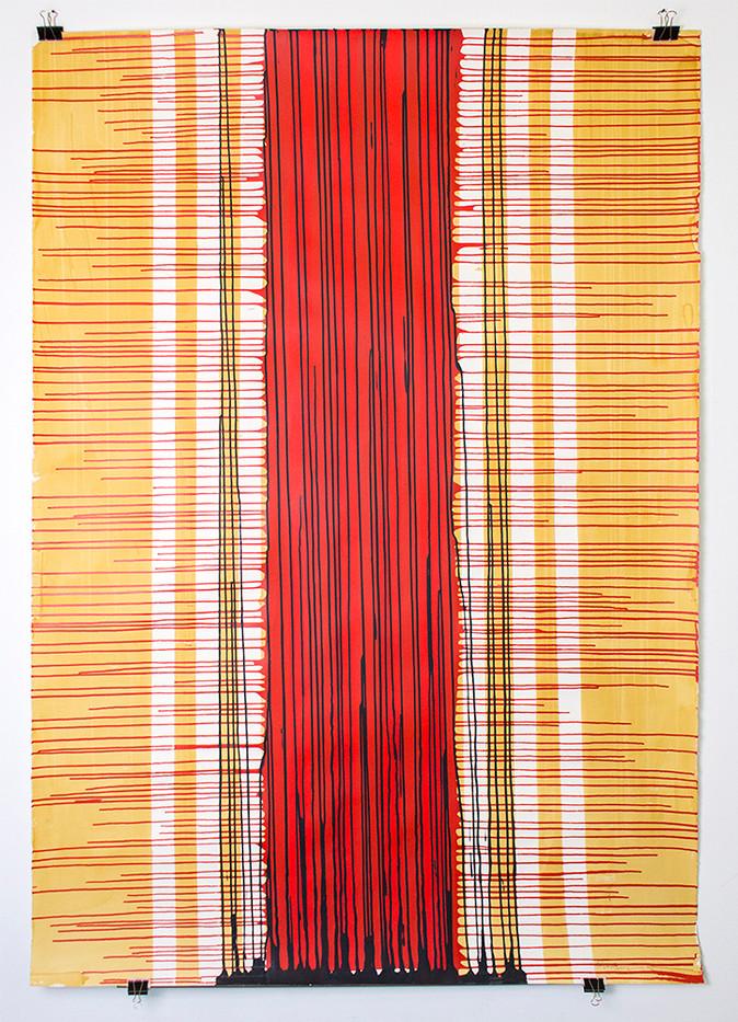 Mongezi Ncaphayi | Untitled | 2016 | Acrylic on Paper | 200 x 140 cm