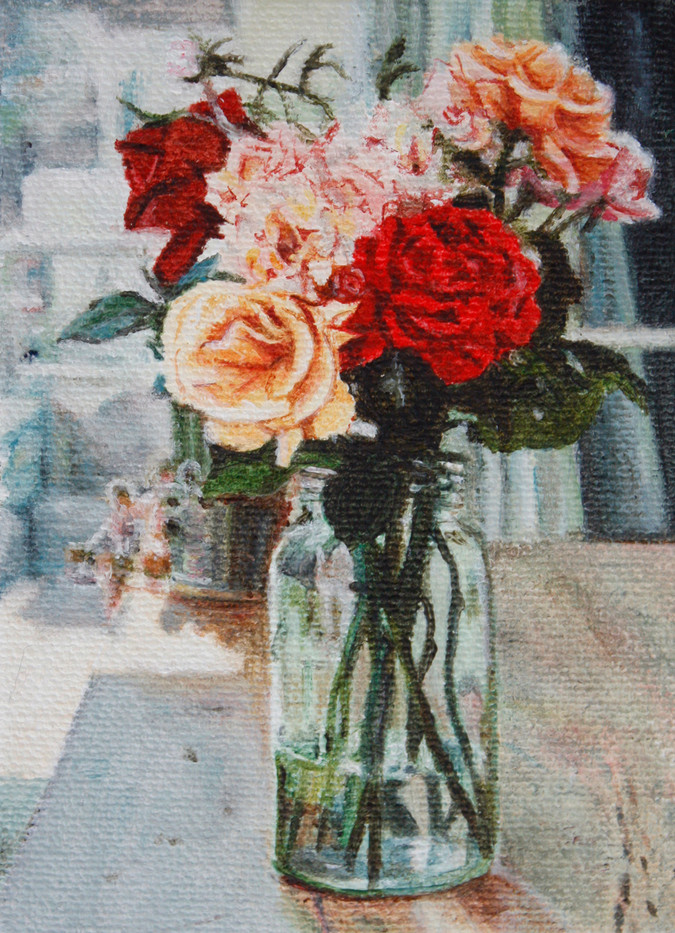 Rebecca Haysom   Roses   2012   Oil on Canvas   10 x 7.5 cm