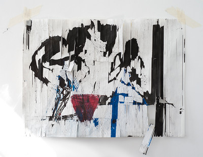 Gareth Nyandoro | Bucket System | 2016 | Mixed Media on Paper Stretched on Canvas | 70 x 95 cm