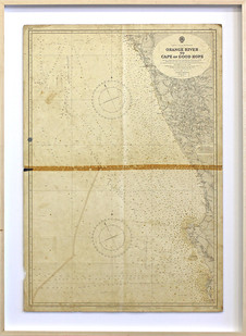 Giovanni Ozzola | Hopes, Wrecks and Pathos II | 2016 | Found Maritime Chart, Gold Paint | 100 x 66 cm
