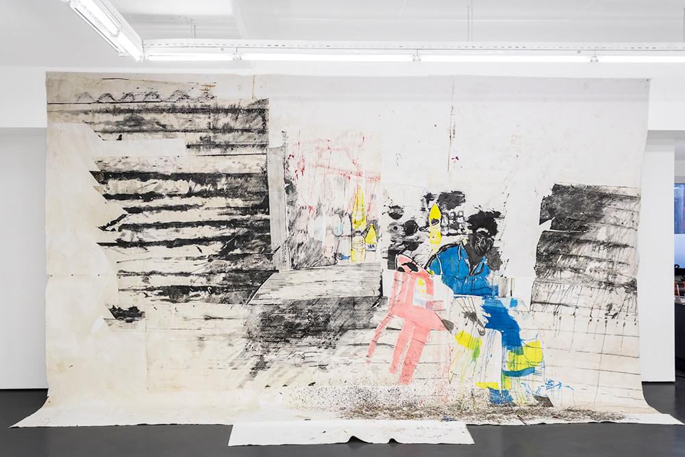 Gareth Nyandoro | Musika WaBaba VaMike | 2019 | Ink on Paper Mounted on Canvas | 408 x 531 cm