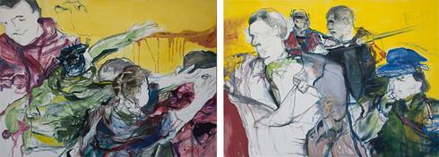 Chemu Ng'ok | Riot I & II | 2015 | Oil on Canvas | 110 x 150 Each