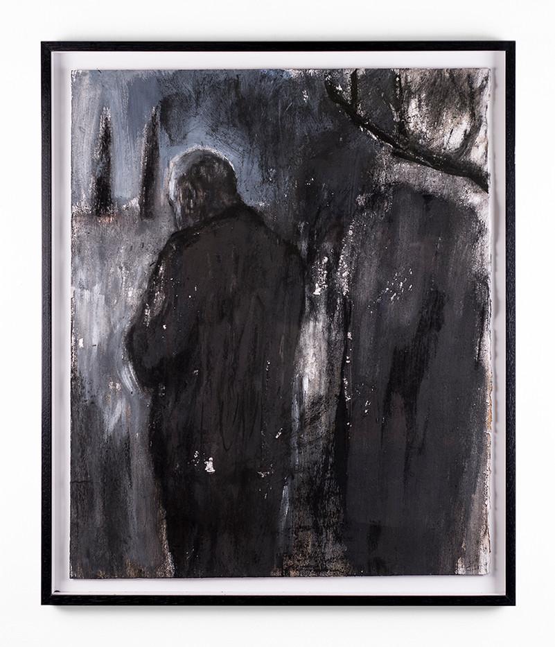 Johann Louw | Teen Skemer | 2018 | Charcoal on Paper | 74.5 x 61.5 cm