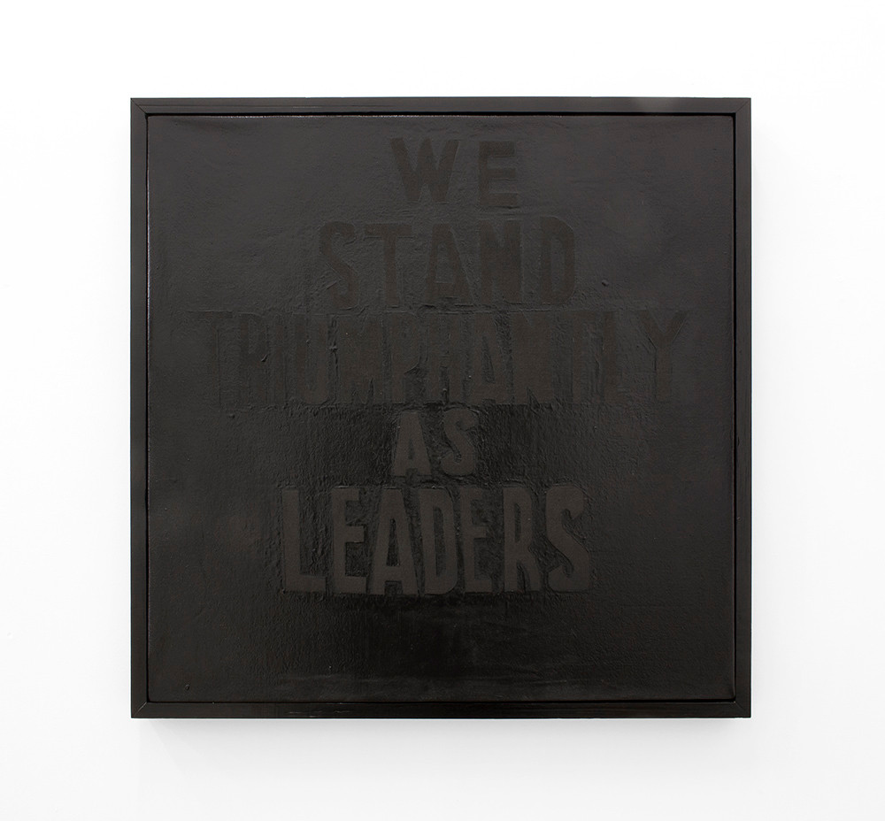 Katlego Tlabela | Leaders (After Treason Trial) | 2016 | Black Pearl Pigment and Enamel Screenprint on Canvas | 80 x 80 cm