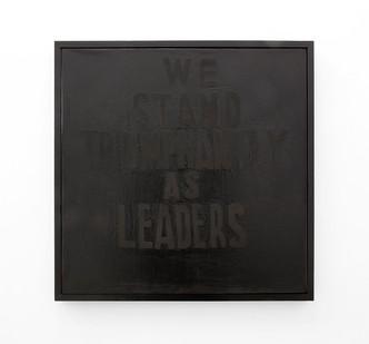 Katlego Tlabela | Leaders (After Treason Trial) | 2016 | Black Pearl Pigment and Enamel Screenprint on Canvas | 80 x 80 cm