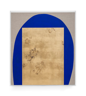 Pierre Vermeulen | Hair orchid sweat print, blue with grey | 2019 | Sweat, Gold Leaf Imitate, Shellac and Acyrilc on Belgian Linen | 92.5 x 82 cm