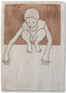 Valerio Berruti | Udaka A | 2012 | Fresco, Oil Pastel and Red Soil on Jute | 130 x 90 cm