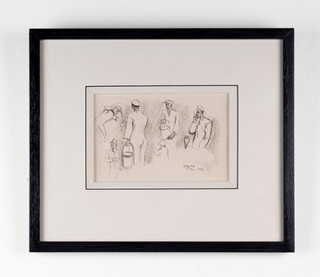 Peter Clarke | Boat Painters Simon's Town Docks | 1953 | Ink on Paper | 11.5 x 19 cm