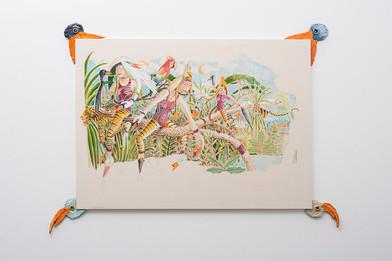 Marlene Steyn   Birders on Beak-ends   2017   Oil and Mixed Media on Canvas   130 x 180 cm