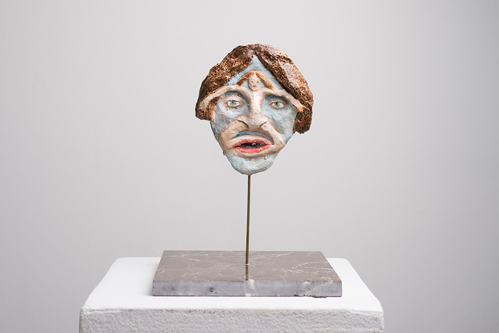 Marlene Steyn   Her In Her Voices (The Flu)   2017   Oil Paint on Ceramic   16 x 14 cm