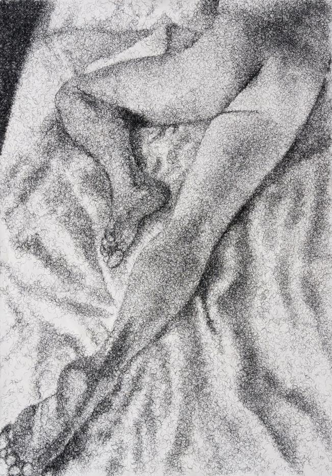 Frances Goodman | Figure Study II | 2020 | False Eyelashes, Methyl Cellulose, Fabriano Paper | 100 x 71 cm