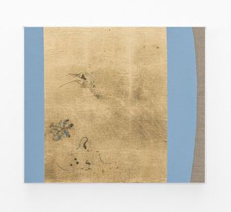 Pierre Vermeulen   Hair orchid sweat print, azure blue form   2018   Sweat, Gold Leaf Imitate, Shellac and Acrylic on Belgian Linen   50 x 58 cm