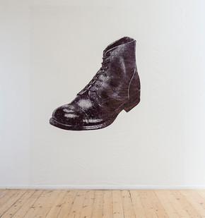 Siemon Allen | Boot | 2018 | Permanent Feltmaker on Polypropylene Sheeting | 300 x 261 cm