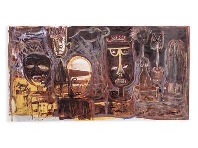 Phoka Nyokong | Museamo wa Bogodu (The Museum of Theft) | 2020 | Oil on Fabriano Artistico | 76 x 145 cm
