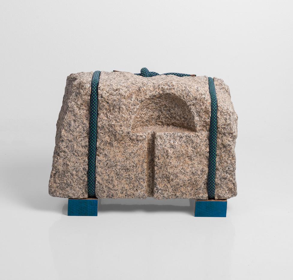 Daniella Mooney | Find the Place / Create a Centre | 2018 | Granite, Retired Climbing Rope | 23 x 36 x 20 cm
