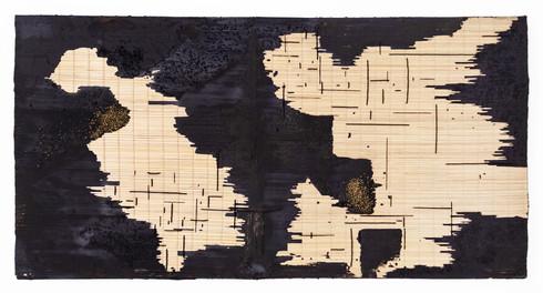 Simphiwe Buthelezi | A thousand new disguises | 2020 | Black Oxide, Acrylic Base, Sand, Beadwork on Straw Mat on Canvas | 95 x 185 cm
