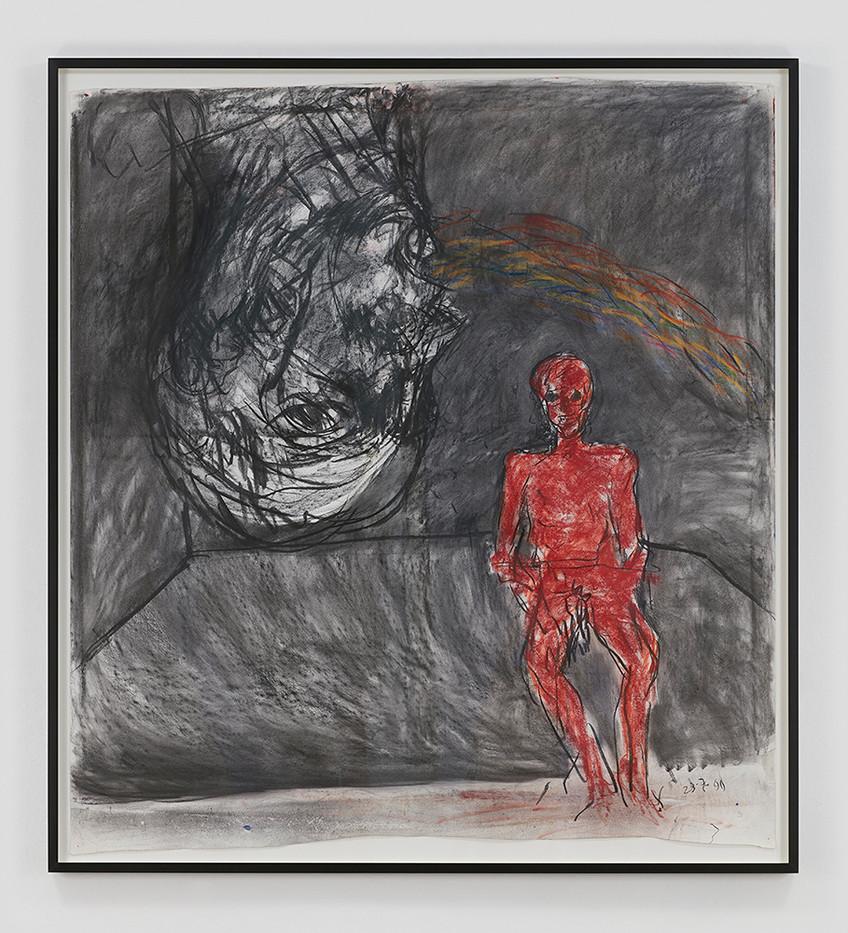Albert Adams | Red Figure | 1999 | Charcoal, Pastel on Paper | 164 x 150 cm