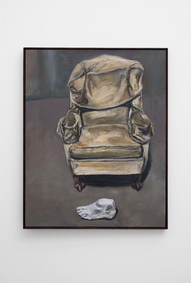 Johann Louw | Geel Stoel en Voet | 2017 | Oil on Panel | 122 x 96 cm