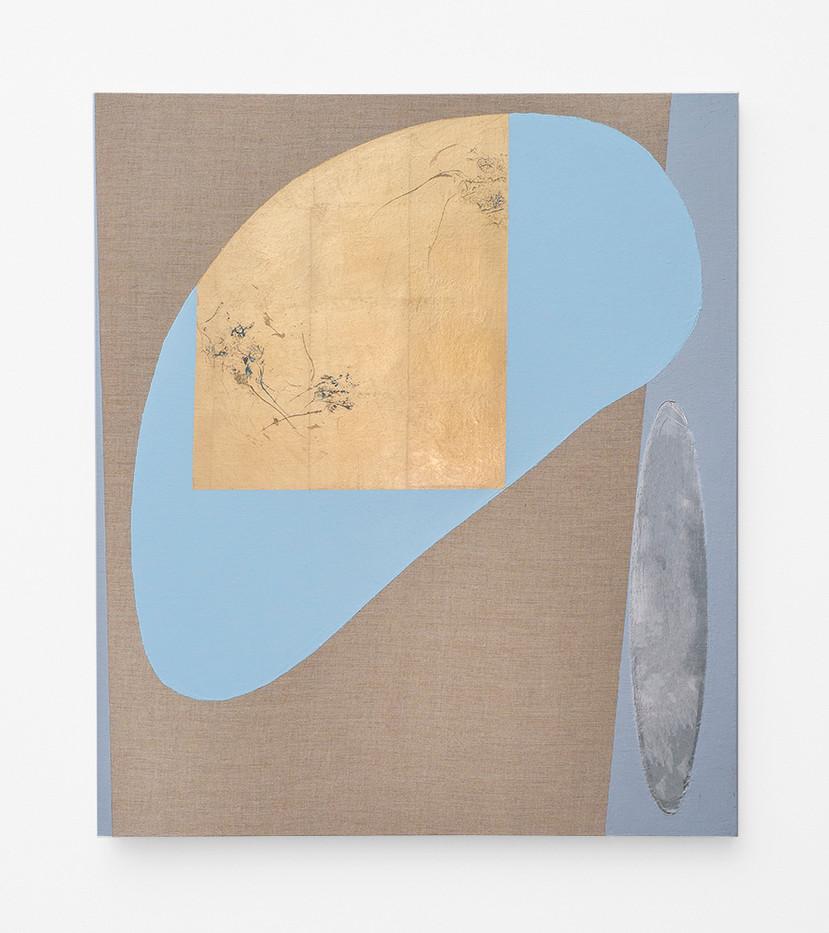 Pierre Vermeulen   Hair Orchid Sweat Print, blue and grey with Mirror Pool   2018   Sweat, Gold Leaf Imitate, Shellac and Acrylic on Belgian Linen   105 x 90 cm