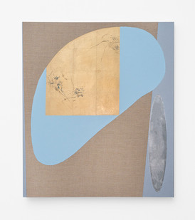 Pierre Vermeulen | Hair Orchid Sweat Print, blue and grey with Mirror Pool | 2018 | Sweat, Gold Leaf Imitate, Shellac and Acrylic on Belgian Linen | 105 x 90 cm