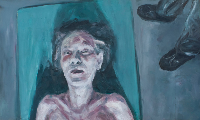 Johann Louw | Portret, Met Voete | 2013 | Oil on Plywood | 122 x 260 cm