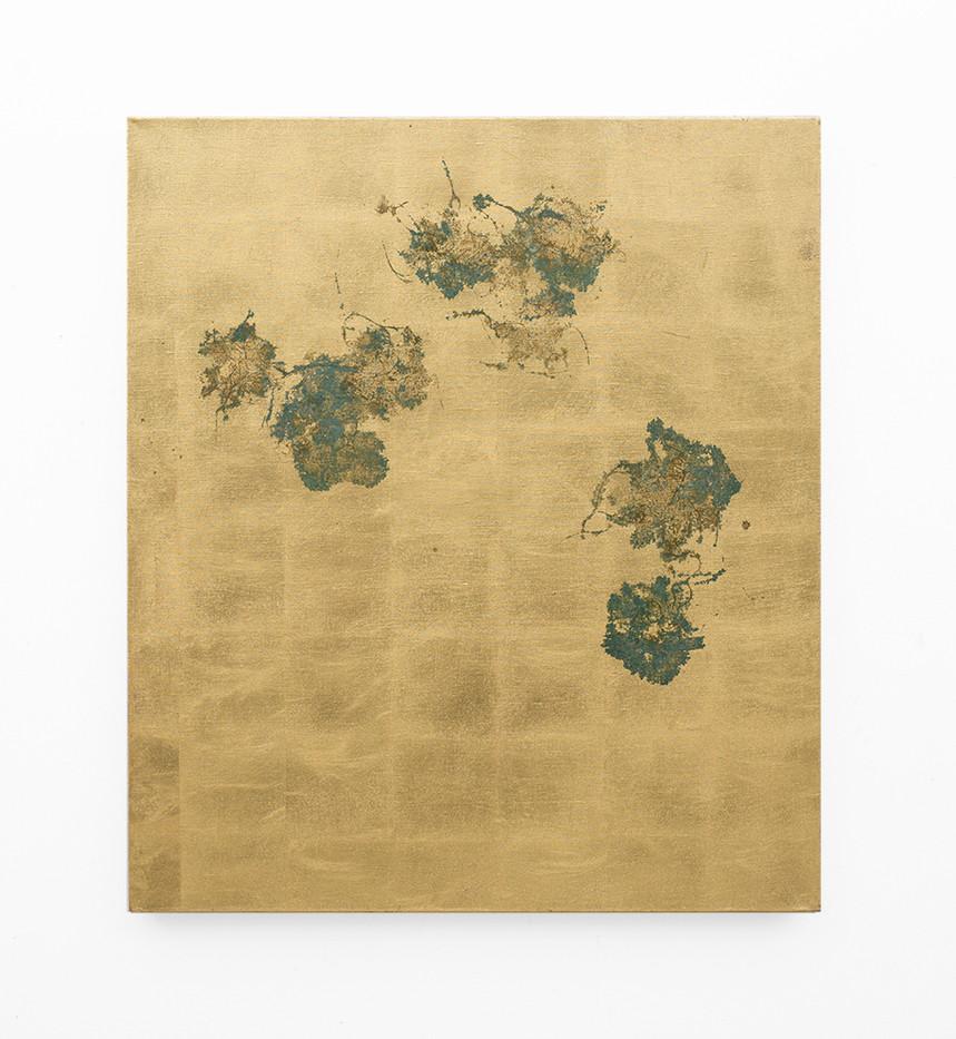 Pierre Vermeulen | Hair orchid sweat print, linen | 2018 | Sweat, Gold Leaf Imitate and Shellac on Belgian Linen | 105.5 x 90 cm