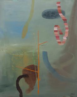 Simon Stone | Orange Lines | 2013 | Oil on Board | 100 x 78 cm