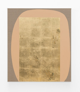 Pierre Vermeulen | Hair orchid sweat print, peach form | 2018 | Sweat, Gold Leaf Imitate, Shellac and Acrylic on Belgian Linen | 95 x 82 cm