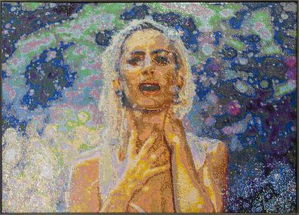 Frances Goodman | Blame it on the Rain | 2018 | Hand-Stitched Sequins on Canvas | 119 x 164 cm