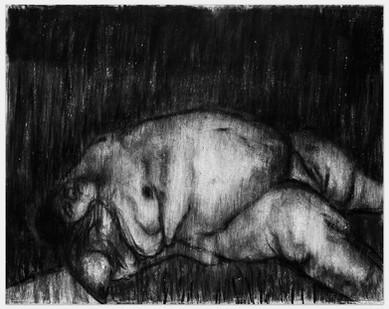 Johann Louw | Liggaam I | 2014 | Charcoal on Paper | 125 x 159 cm