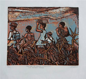 Peter Clarke | For some the pathway to education lies between thorns | n.d. | Colour Reduction Linocut | 62 x 48 cm | Edition of 22