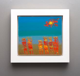 Walter Battiss | Fruit Sellers in The Sun | n.d. | Oil on Canvas | 40 x 45 cm