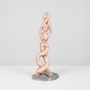 Marlene Steyn | Koeksister Sisters (on loopy) | 2017 | Oil Paint on Ceramic | 26 x 11 x 12 cm
