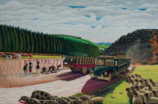 Trevor Makhoba | Ntambanana Bus | 1989 | Oil on Canvas | 60 x 90.5 cm