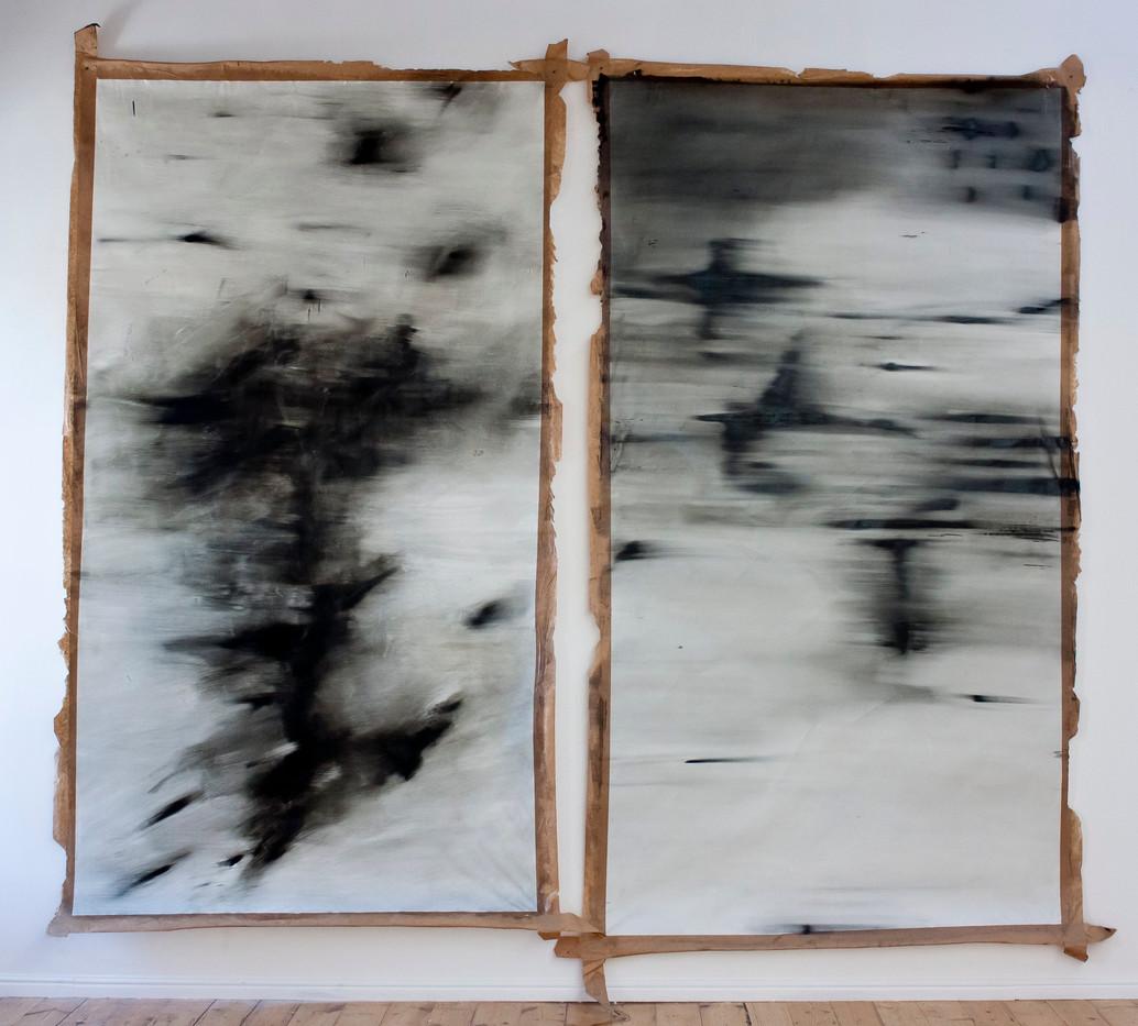 Alexandra Karakashian | Passing #20 and # 21 | 2013 | Oil on Paper | 289 x 180 cm Each