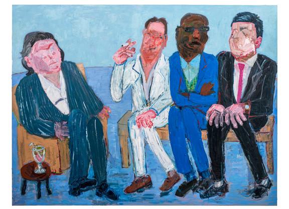 Georgina Gratrix | The Milkshake Meeting | 2018 | Oil on Canvas | 190 x 250 cm