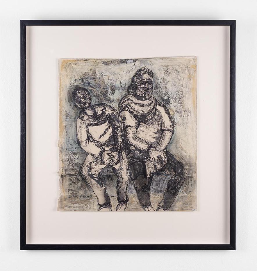 Lionel Davis | A Quick Nap | 2010 | Yellow Stain, Acrylic White, Colour Pencil, Kokis, Oil Pastel | 35 x 32 cm