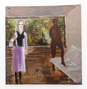 Simon Stone | Mauve Dress | 2019 | Oil on Cardboard | 27 x 27 cm