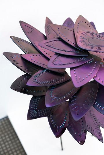 Usha Seejarim   Progressive Flower (Detail)   2021   Reclaimed Ironing Bases, Paint and Steel   100 x 80 x 80 cm