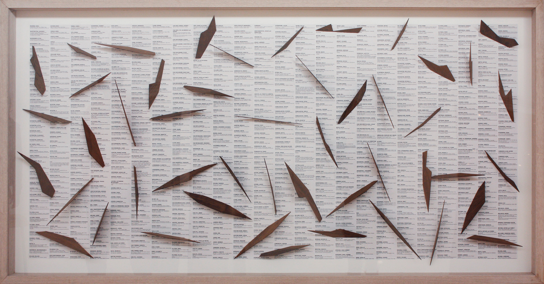 Willem Boshoff | Dubul' Ibhunu | 2011 | Paper Collage, Imbuia Wood | 126 x 248 x 11 cm