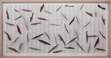 Willem Boshoff | Dubul' Ibhunu | 2011 | Paper Collage, Imbuia Wood | 126 x 248 x 11 cm