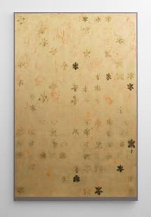 Pierre Vermeulen | 75, 176 orchid sweat print on orange | 2018 | Gold Leaf Imitate, Sweat & Acrylic on Belgian Linen | 216 x 156 cm