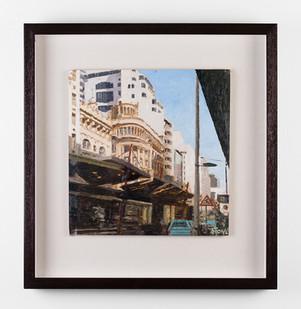 Simon Stone | Commissioner Street Johannesburg with Blue Bakkie | 2017 | Oil on Cardboard | 30 x 30 cm