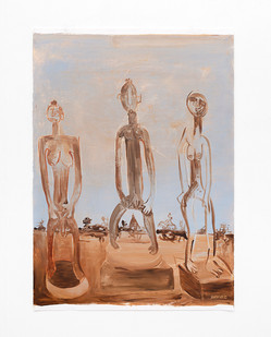 "Phoka Nyokong   ""Kopano Kwa Ile Ife"" (Meeting at Ile Ife)   2021   Oil on Fabriano Paper   100 x 71 cm"