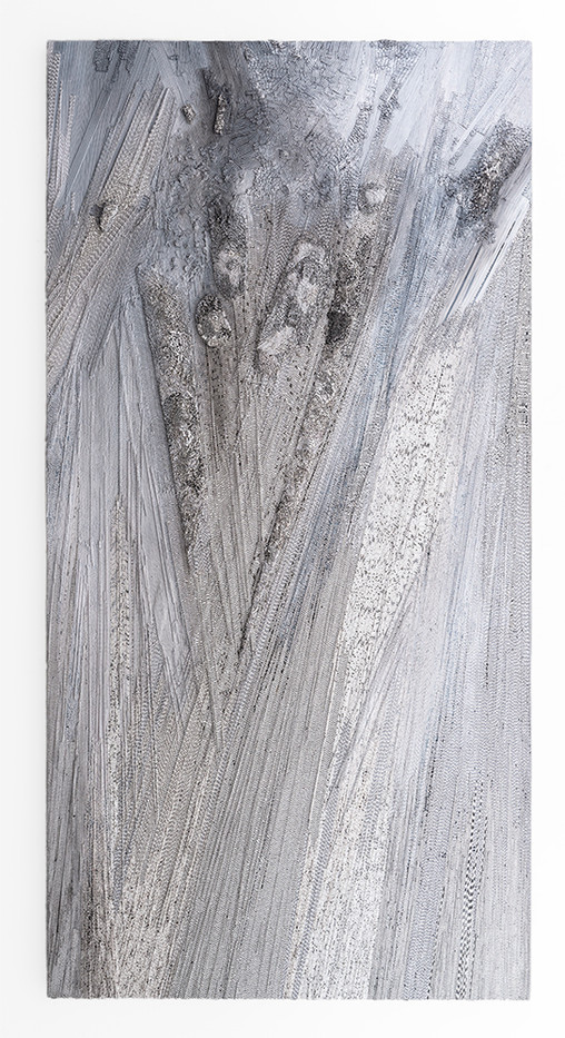 Galia Gluckman | (re)arrangement | 2019 | Construction with Canvas Textured Paper, Balsa Wood, Acrylic and Bonding Tape on Board | 200 x 100 cm