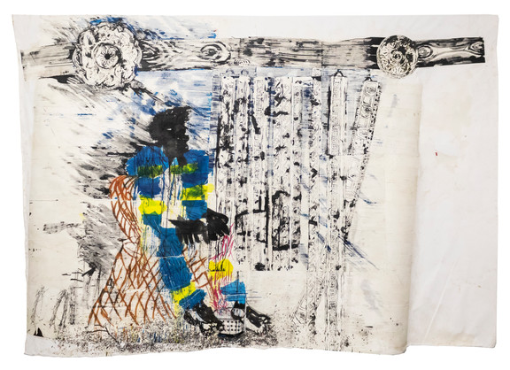 Gareth Nyandoro | Five star cornices | 2019 | Ink on Paper, Mounted on Canvas | 351 x 243 cm