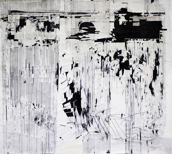 Gareth Nyandoro | Garai Four-Four | 2015 | Mixed Media on Canvas | 152 x 170 cm