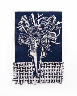 Jody Paulsen | Midnight Blue and Ivory I | 2020 | Felt Collage | 89 x 64 cm